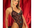 Lace Body Stocking with Green Bow
